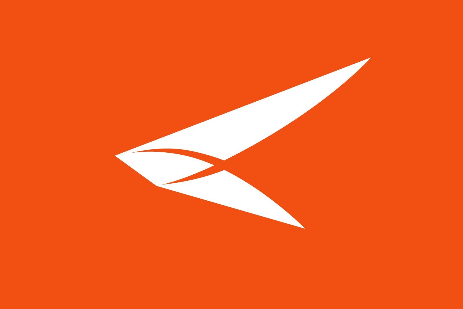 Авиакомпания Азимут, белый логотип на оранжевом фоне, Azimuth Airline logo, Asgard Branding