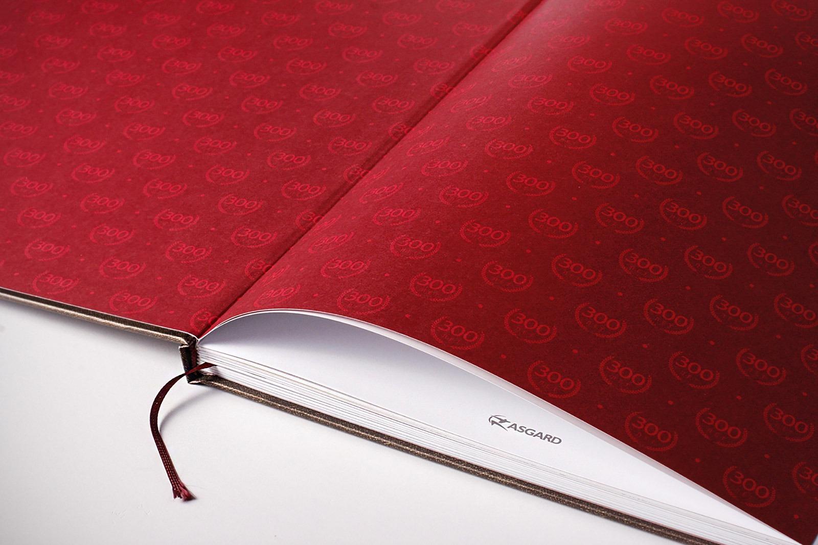 Красный форзац, endpaper, flyleaf, red book, юбилейная книга, jubilee book, Asgard Branding