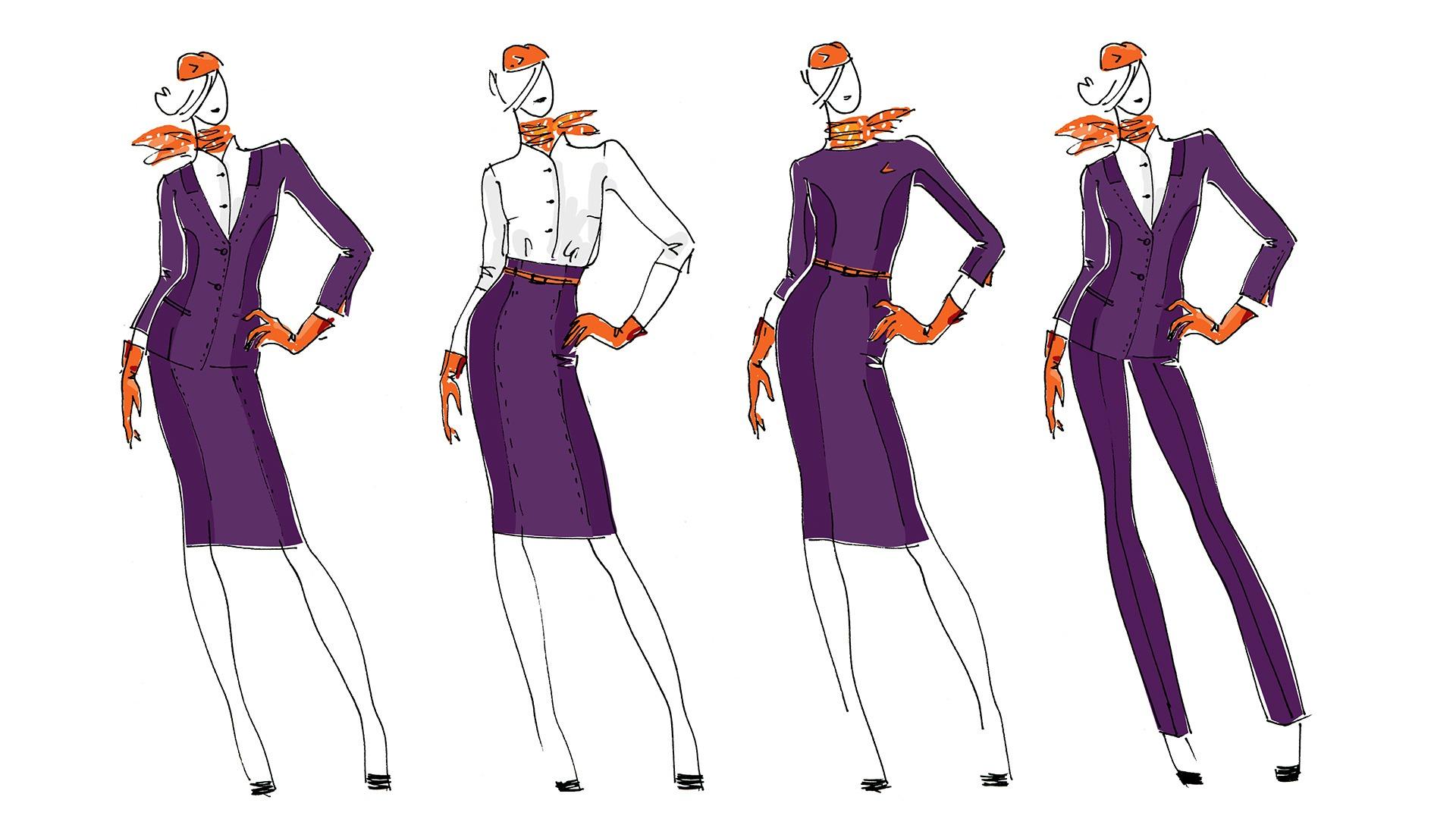 Авиакомпания Азимут, униформа, design of corporate uniform, Azimuth Airlines, sketches of uniform