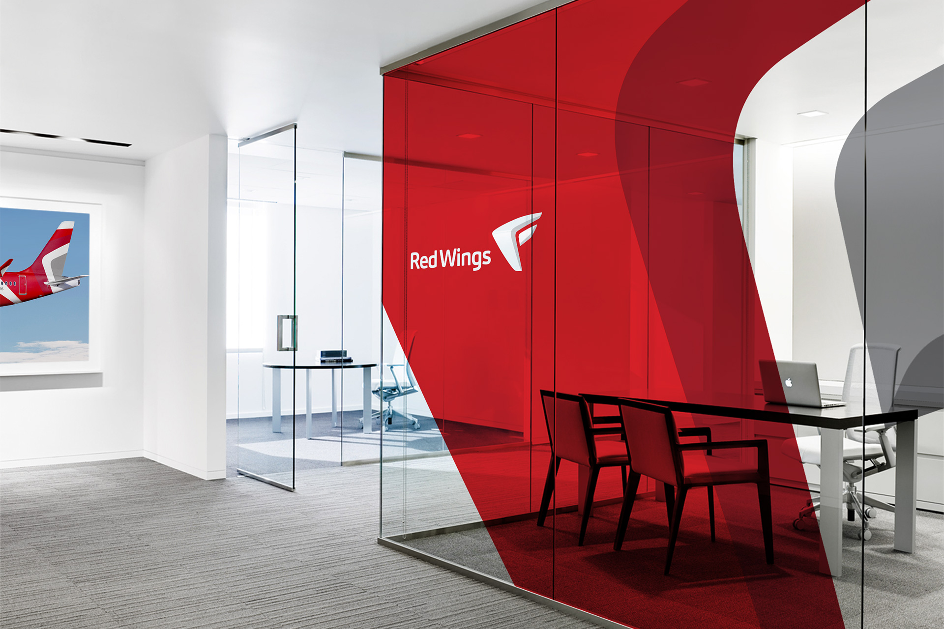 Asgard, Red Wings, airlines, брендирование офиса, red office, red wall