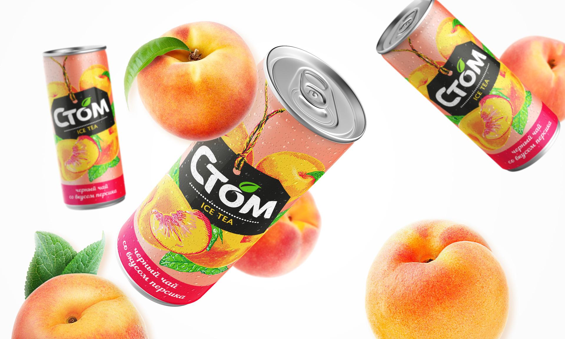 Асгард Брендинг, дизайн упаковки, редизайн, ребрендинг товарной марки, стом, холодный чай, stom, дизайн банки, напитки, soft drink, peach, персик
