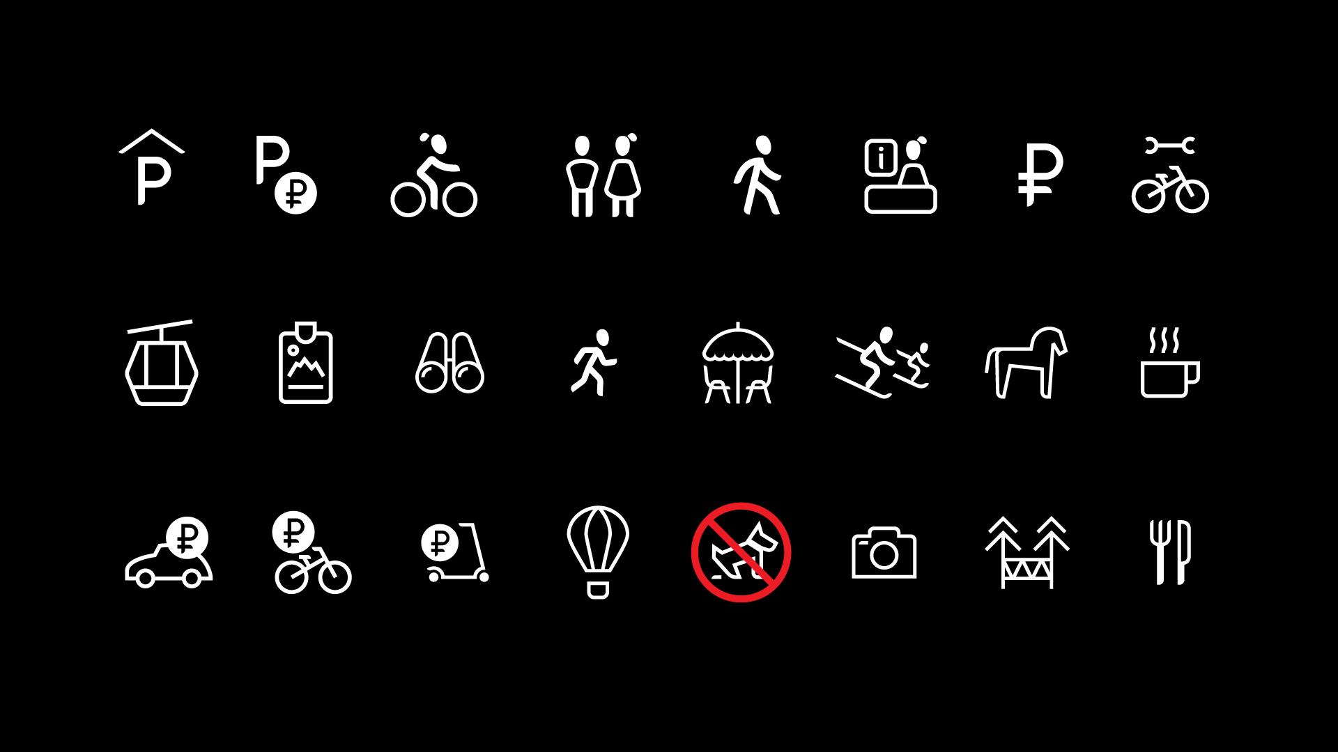 Асгард Брендинг, Курорт Красная Поляна, ребрендинг, фирменный стиль, айдентика, лого, курорт, дизайн, пиктограммы, графический дизайн, средовой дизайн, система графической навигации, pictogram design, signagesystem